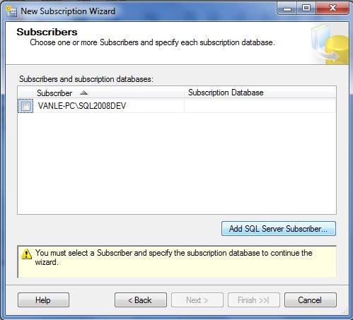 chon Add Sql server Subcriber