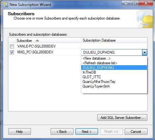 chon database Dulieu_duphong
