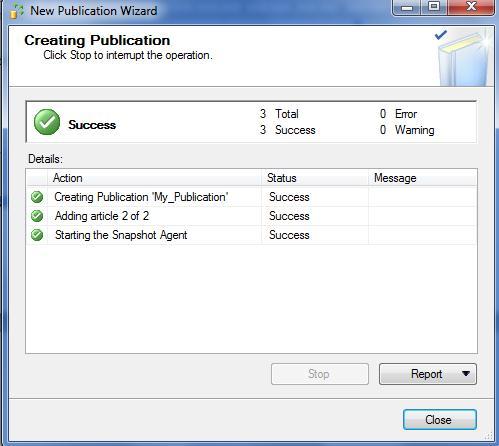 create publication success