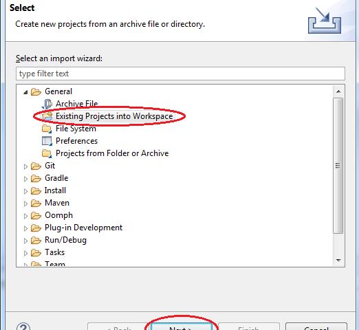 Load project java - chọn thư mục workspace
