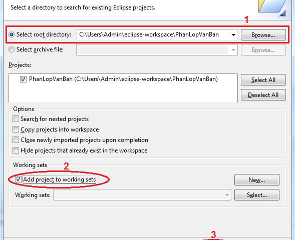 Các tùy chọn trong load project java
