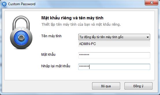 Nhập mật khẩu mặc định